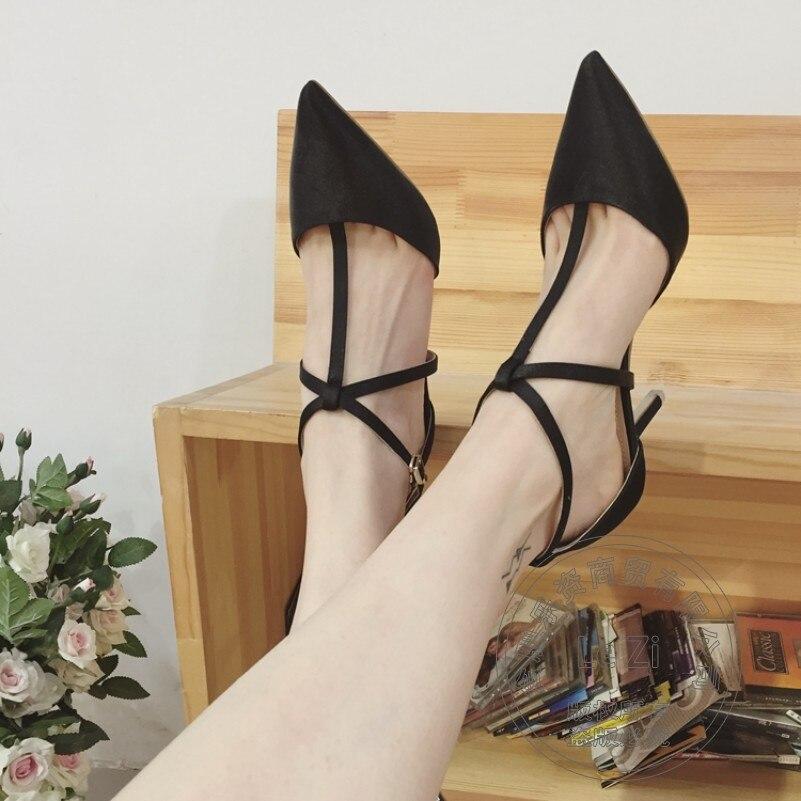 Womens Shoes Buckle Strap Winkle Picker Pointed Toe T Strap Office Heels Shoes font b Women