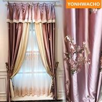 Custom curtains luxury Embroidered Flower Living Room Balcony Korean pink cloth blackout curtain tulle drape panel B249