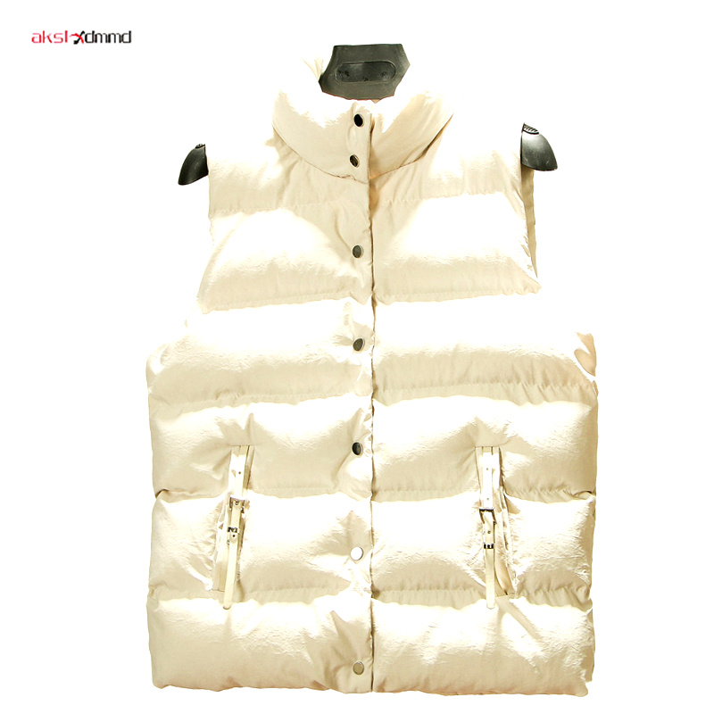 Winter White Black Vest Sleeveless Jacket 2019 Button Bodywarmer Women Vest Cotton Coat Spring Colete Feminino Inverno AC072