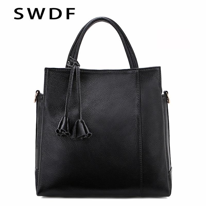 ФОТО SWDF 2017 Brand Black tassel Women's Handbags Leather Handbag  Crocodile Crossbody bag Shoulder Messenger Bags clutch tote bag