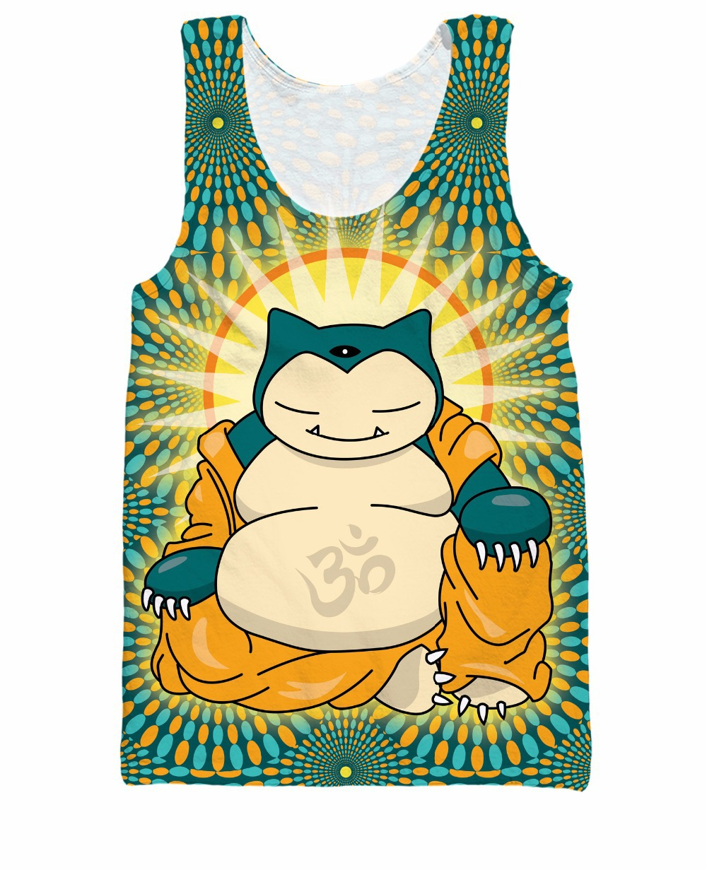 Buddha Snorlax   Tank     Top   Sleeping Type Pokemon Snorlax As Buddha 3d Print Casual Tee Summer Style Vest Jersey For Women Men