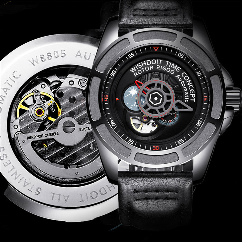2019 Men's Watches Skeleton Tourbillon Moon Phase Automatic Mechanical Watch Luxury Gear dial Waterproof Rotary Table Clock +Box