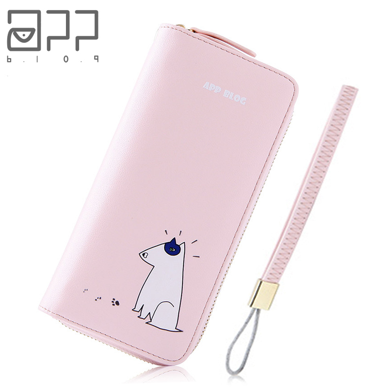 APP BLOG Brand Cute Mouse Girl Women's Purse 2017 Long Clutch Leather Wallet High Quality Phone Key Card Holder Bag With Strap