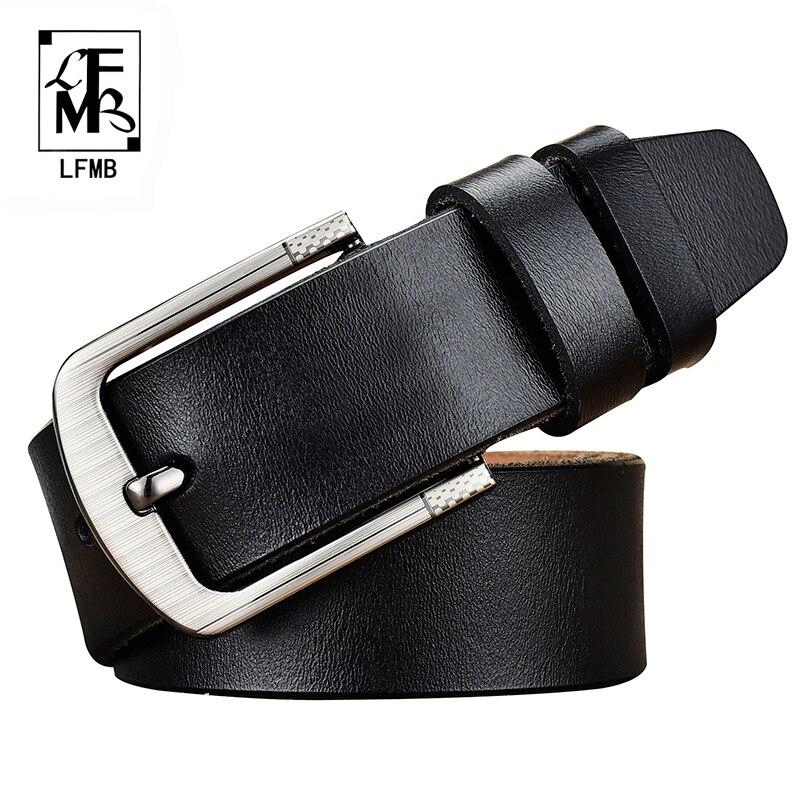 [LFMB]leather Belt Men Male Genuine Leather Strap Jeans Brand Cow Genuine Leather Luxury Pin Buckle Male Men Belt