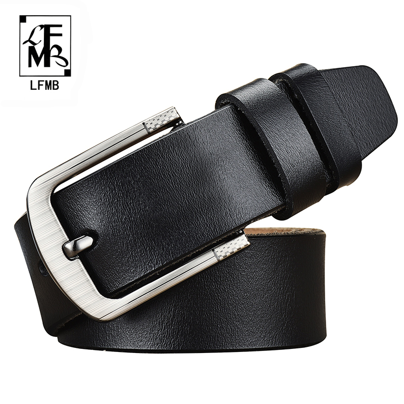 [LFMB]leather belt men male genuine leather strap jeans brand cow luxury pin buckle
