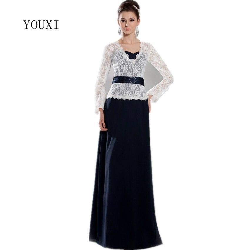 Mousseline de soie noire élégante et dentelle ivoire mère de la mariée robes à manches longues 2017 nouveaux arrivants robes de soirée formelles