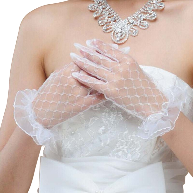 Bridal Lace Net Yarn Gloves Wrist Length Gloves Finger Short Wedding Accessories
