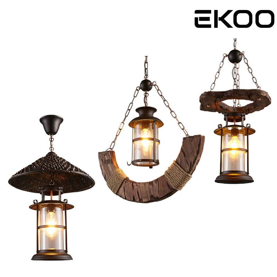 Экоо античная промышленных Ретро Вуд E27 подвесная световая балка настенный светильник стены Лофт свет