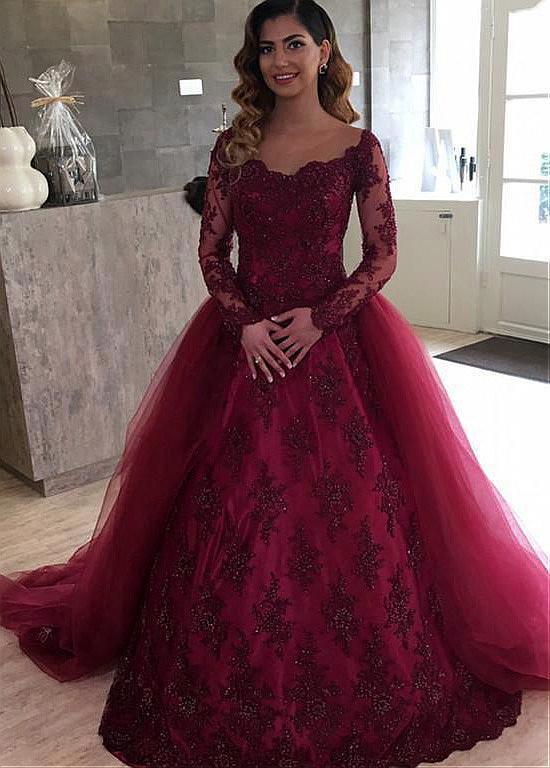 Burgundy Vestido De Noiva 2019 Muslim Wedding Dresses Ball Gown Long Sleeves Tulle Lace Beaded Dubai Arabic Wedding Gown Bridal
