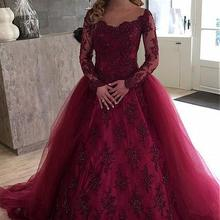 Burgundy Muslim Wedding Dresses Ball Gown Long Sleeves