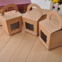 12PCS LOT DIY Brown Kraft Paper Candy Boxes With Clear Window Sweets Gift Box For Party