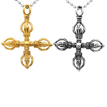 Phenovo Charm Rvs Hollow Cross Vajra Stamper Hanger Talisman Ketting Gebed Amulet Hanger Ketting Mode-sieraden(China)