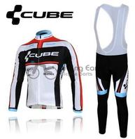 3D Silicone CUBE 2012 Team Long Sleeve Autumn Bib Cycling Wear Clothes Bicycle Bike Riding Cycling