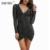 Sibybo negro malla vestidos de fiesta 2017 de otoño invierno de manga larga vestido femme sexy cuello en v con cordón plisado bodycon club dress