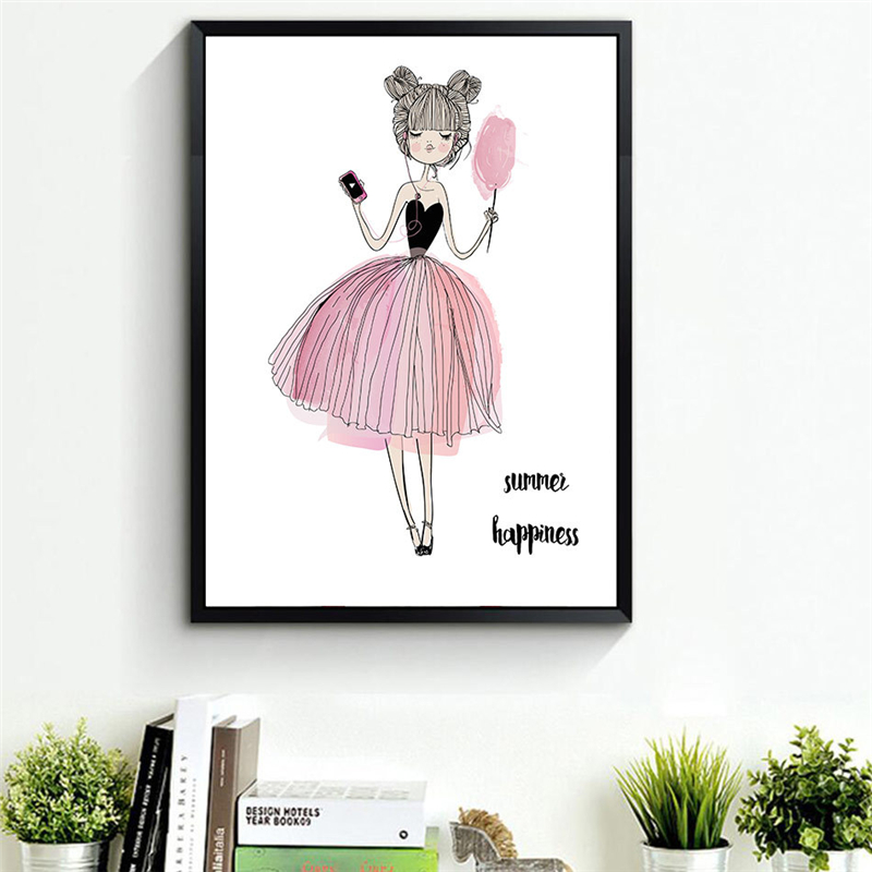 HAOCHU Watercolor Beauty Girls Canvas Art Poster Giclee Print Painting Cute Wall Pictures for Kids Room Decor Gifts Artwork