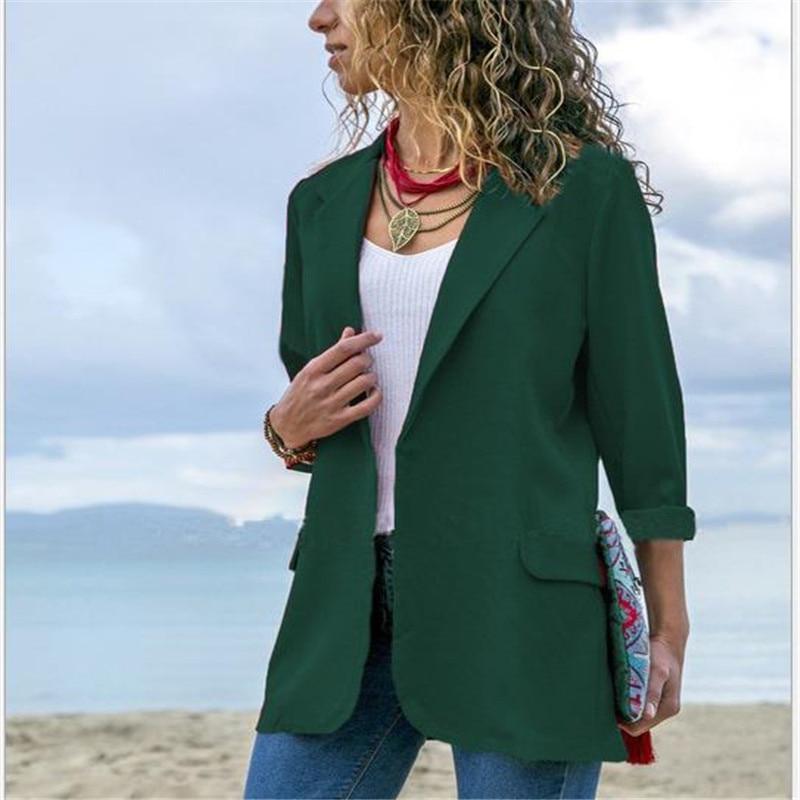 Women Blazer 2019 New  Long Sleeve Open Front Lightweight Casual Office Lapel Turn Down Collar Slim Jacket Outwear FemaleHC060