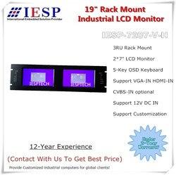 19 3U رف جبل شاشات كريستال بلورية ، 2*7 LCD ، 2 * HDMI المدخلات (VGA و AV في اختياري) ، 12VDC في. شاشة lcd صناعية رف جبل