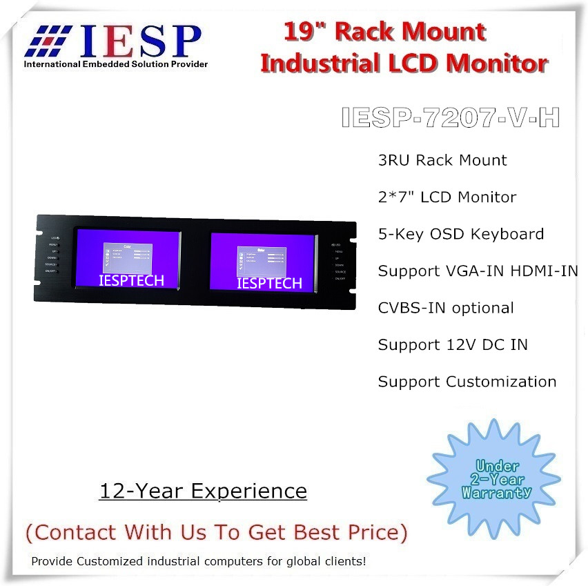 """19 """"3U rackmonterad LCD-skärm, 2 * 7"""" LCD, 2 * HDMI-ingång (VGA & AV In tillval), 12VDC IN; Industriell LCD-monitormontering"""