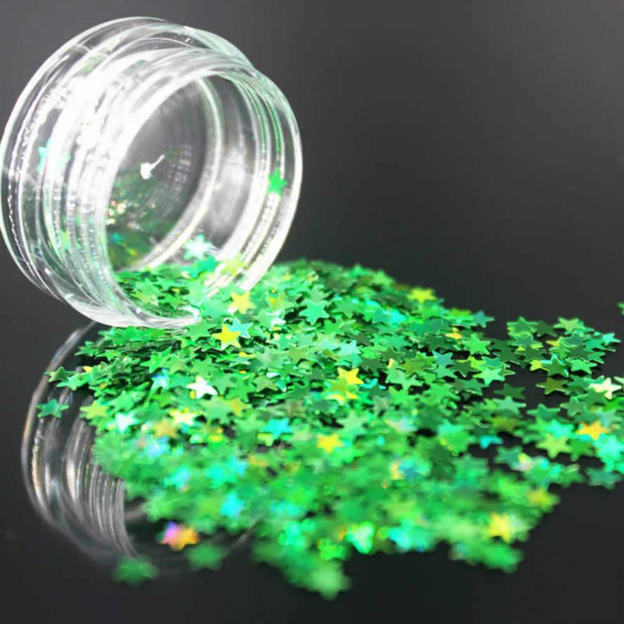 1 pc ירוק נייל אמנות גליטר ג 'ל פולני מראה מניקור נוצץ ציפורניים UV קישוטי כרום פיגמנט הולוגרפית נייל אבקת כוכבים
