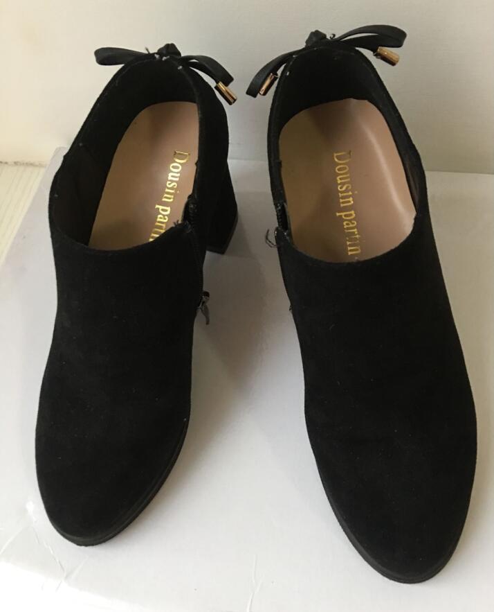 Dousin Partin propre Designer femmes chaussures automne talons épais talons hauts bas en daim cuir chaussures femmes-in Bottines from Chaussures    2