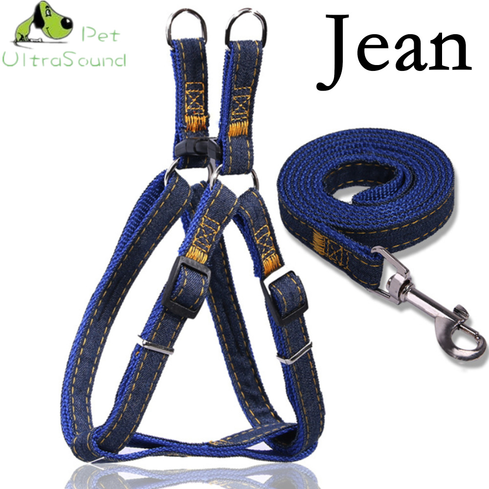 ULTRASOUND PET Dog Jean Harness With Lead Leash Control Restraint Cat Puppy Dog Harness Soft Walk Vest Dog Large Blue Red Black