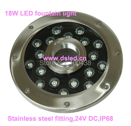 Free shipping !! New design,IP68,stainless steel 18W underwater LED spotlight,LED fountain light,DS-10-50-18W,18*1W,24V DC цены онлайн