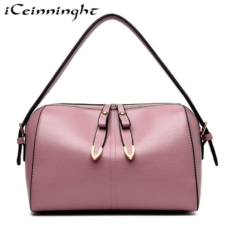 iCeinnight Fashion Woman Bag 2018 New Pillow Type Woman Shoulder Bag Woman Boston Bag Shopping Trip Large Capacity Woman Handbag