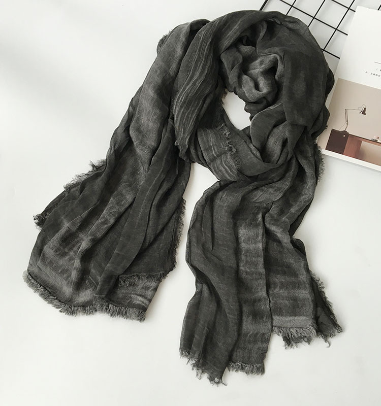 Peacesky Japanese Unisex Style Winter Cotton Linen Solider Color long women's scarf