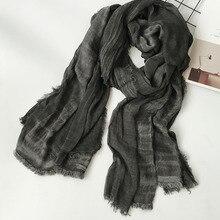 Новинка, японский стиль унисекс, зимний шарф, хлопок и лен, одноцветные, длинные женские шарфы, шаль, модный мужской шарф