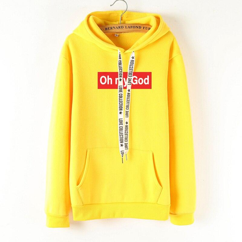 autumn winter oh may god with pocket multicolor long sleeve Korean version Harajuku large size casual woman hoodies sweatshirt
