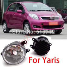 2015 new auto accessories car LED front fog lights strobe line group For Toyota Yaris 2006-2013 car styling parking