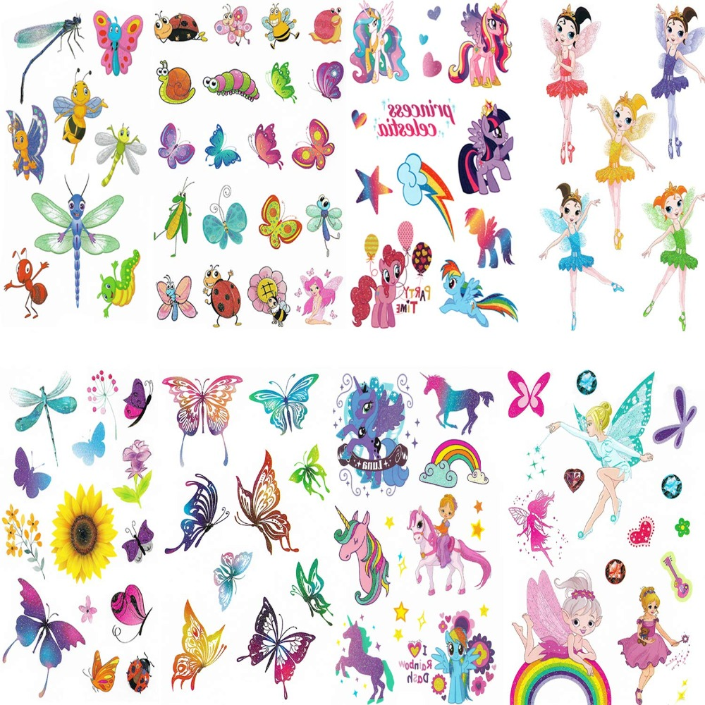 8pcs Temporary Stickers For  Birthday Party Glitter  Stickers For Children Kids Girls Boys  Butterfly Animals Creatures  Party