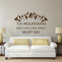 цены на Fashion Decoration Decal Quotes the Montains are calling and I must Go Climbing Wall Sticker Vinyl Art Curving Wallpaper NY-232  в интернет-магазинах