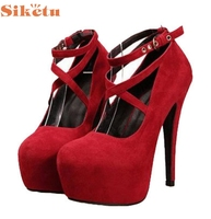 Fashion Pumps Charming Nice SIKETU Women Strappy Heels Pumps Sexy Wedding Wear Low Cut Cross Buckle