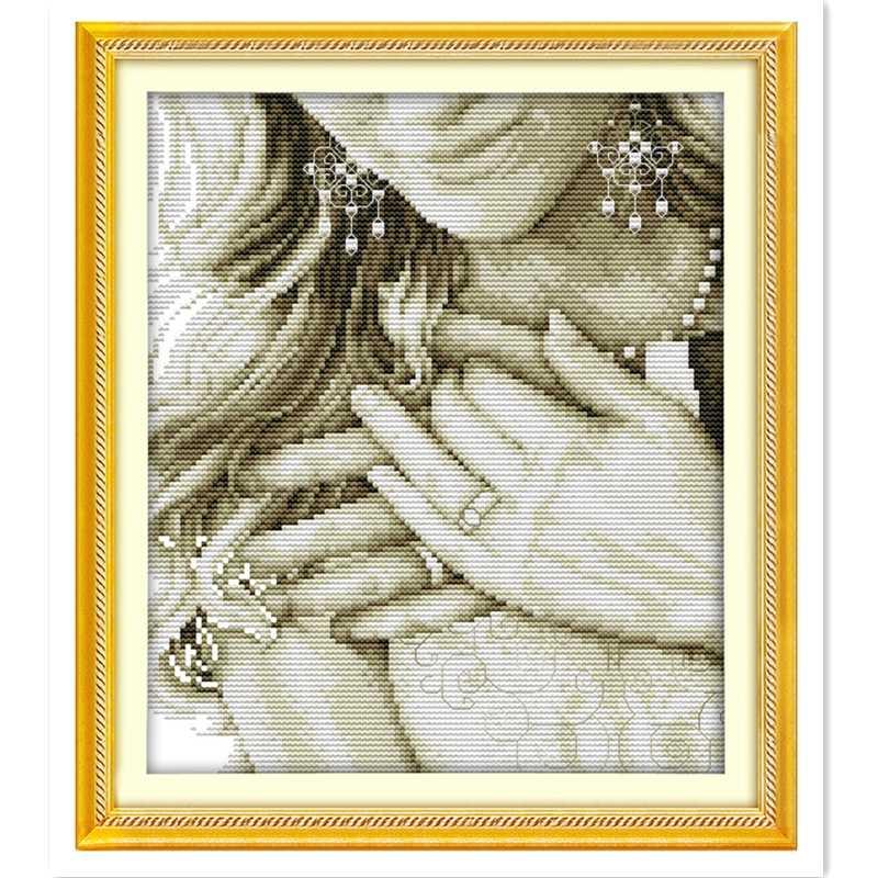 งานแต่งงานแหวน (2) จีนรูปแบบลายตะเข็บชุด Rest Room เย็บปักถักร้อย Cross ชุด DMC ผ้าปักครอสติส
