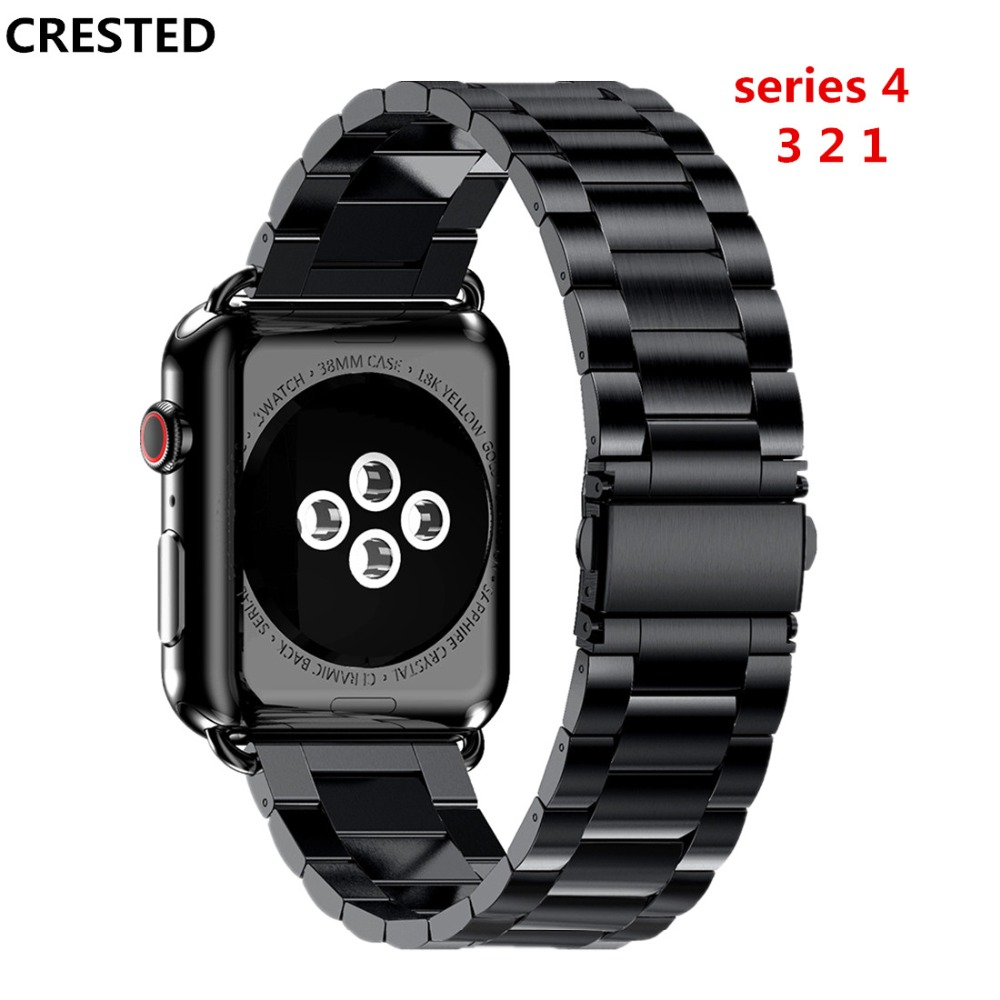 CRESTED Link bracelet strap For Apple watch 4 band 44mm 40mm iwatch series 3/2/1 42mm/38mm Stainless steel wrist belt Watchband цена