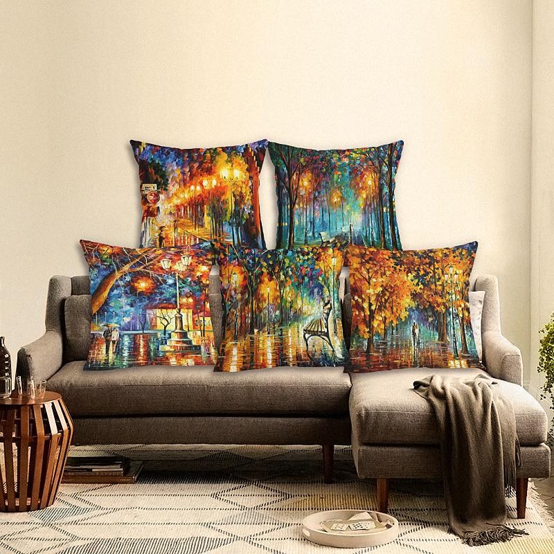 Kualitas tinggi Busana Kreatif Scenic Houseware Cojines Sofa Sarung Bantal Katun Linen Sarung Bantal Almofadas