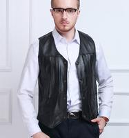 M 5XL Men S Genuine Leather Vest Men S Sheepskin More Pocket Journalists Leather Vest 4XL