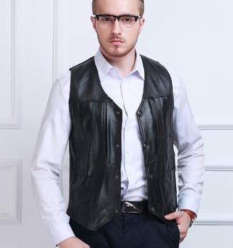 M-5XL ! Men's Leather Vest Men's Sheepskin More Pocket Journalists Leather Vest 4XL 5XL Men Vest ! free shipping