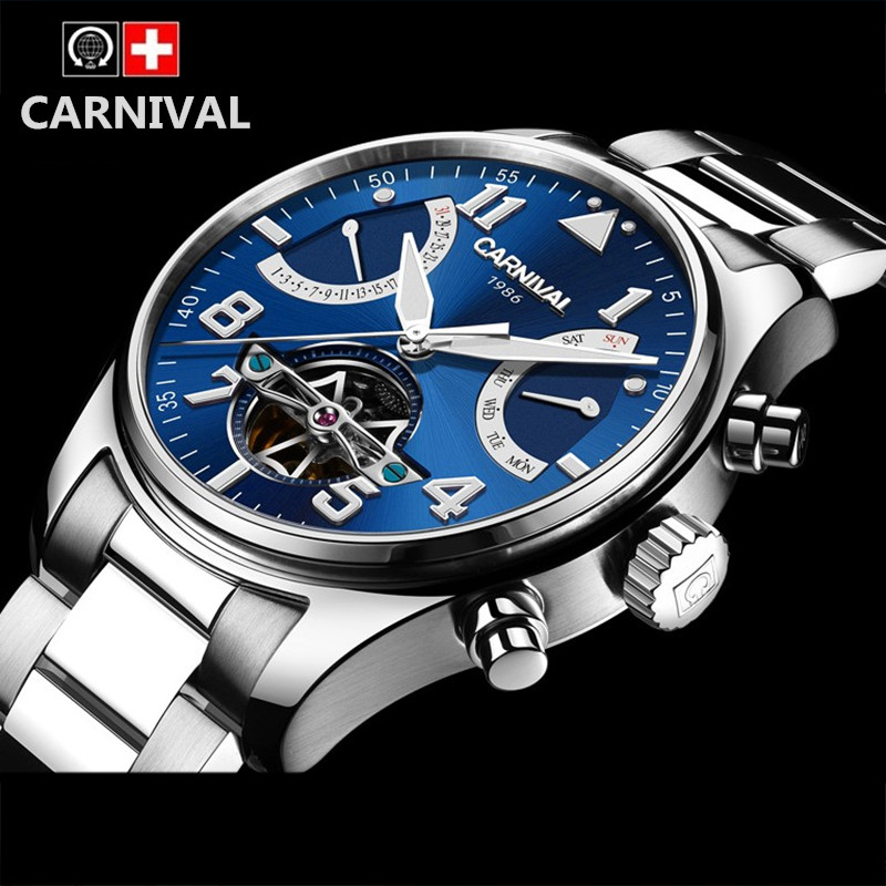 Carnival switzerland brand tourbillon automatic mechanical wristwatches full steel clock luxury men watch sapphire relogio saat switzerland watches men brand oyalie luxury simple rose gold wristwatches tourbillon sapphire mirror automatic mechanical watch