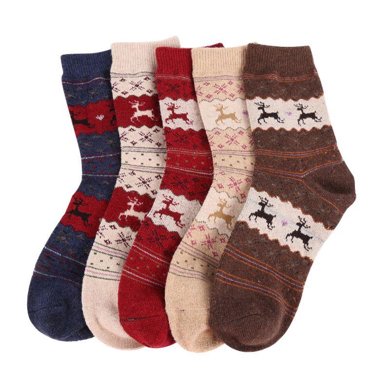 Christmas Gift Women Snowflake Deer Wool Socks Warm Winter Novelty Sock Filler Xmas Gift