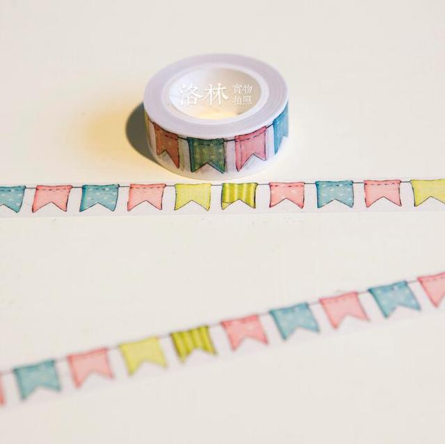 JG402 1.5 CM Breed Kleurrijke Vlaggen Washi Tape DIY Scrapbooking Sticker Label Afplakband School Office Supply