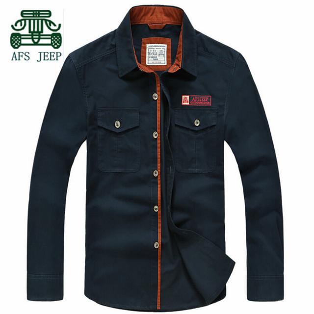 Afs JEEP otoño lleno de hombre camisa de algodón de manga, buena calidad del algodón puro resistir militar ropa, Color sólido camisa delgada ocasional
