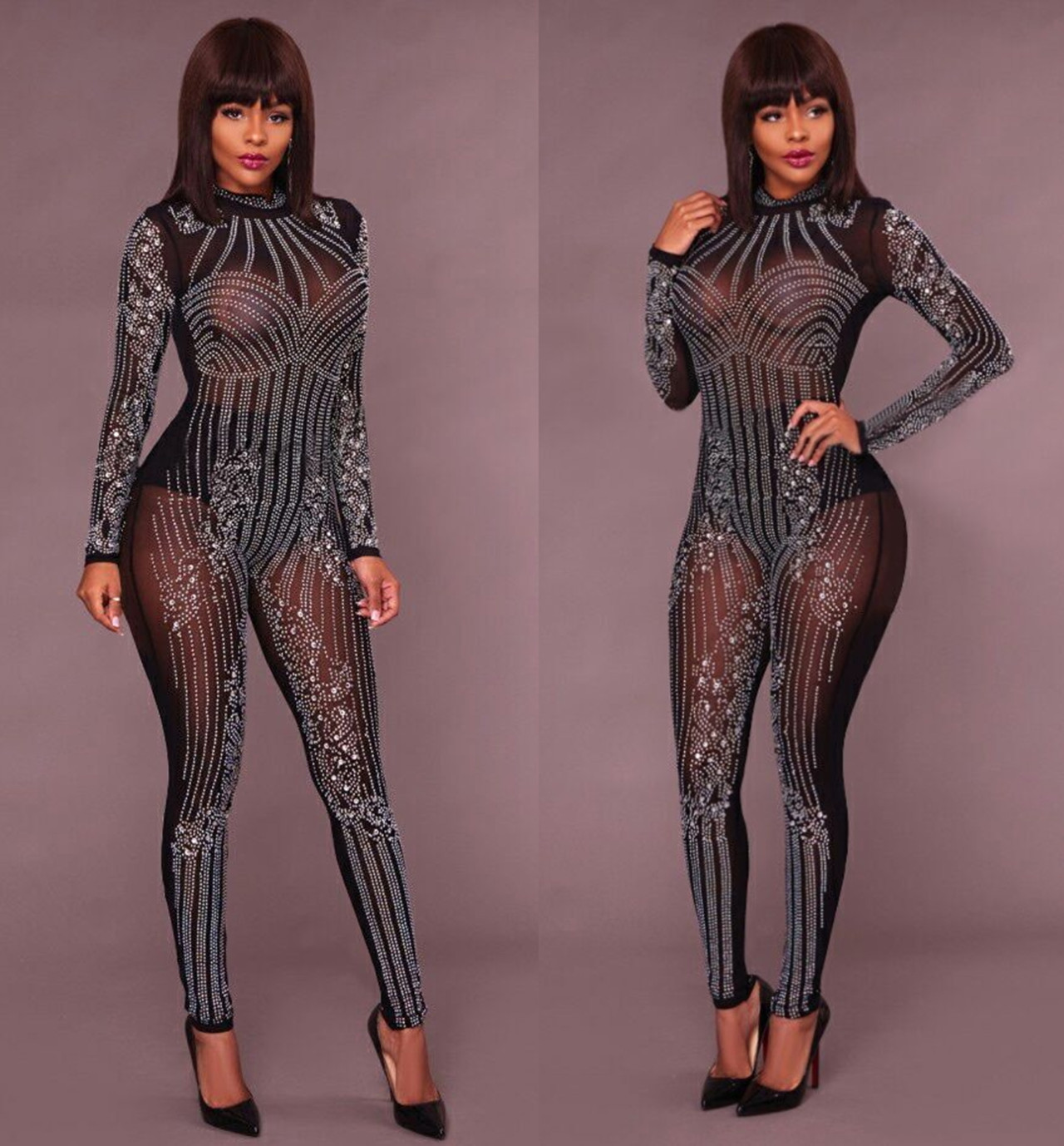 5c583c7be49f 2018 Sexy Women Paillette Bodysuit Sequined Bodycon Clubwear Jumpsuits-in  Jumpsuits from Women s Clothing on Aliexpress.com