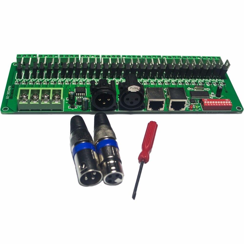 30 канала DMX декодер с XLR затемнения светодиодный драйвер DC12-24V <font><b>RGB</b></font> Светодиодные ленты DMX 512 контроллер для 1440 Вт <font><b>RGB</b></font> RGBW светодиодные ленты свет