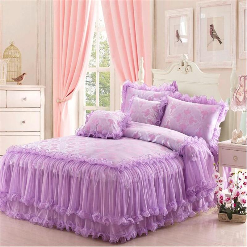 Lace Jacquard Tribute Silk Ruffles Comforter Duvet Cover
