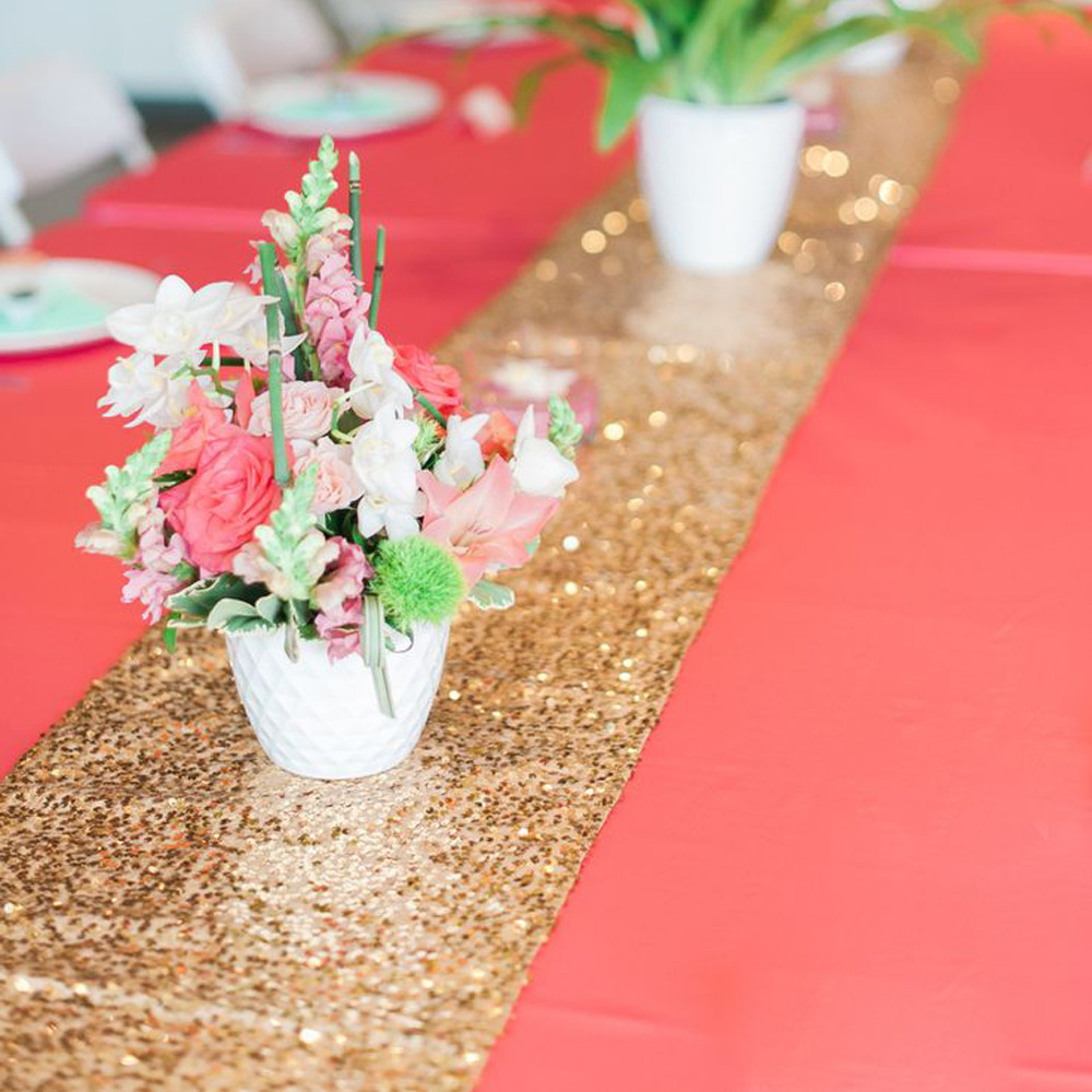 10pcs High Quality Sequin Table Runner Wedding Sparkly Bling Wedding Event  Party Christmas Decoration Gold Silver 30x275CM In Table Runners From Home  ...