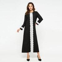 73b8d034bc15fe Long Abaya Dress Casual Muslim Dress Women Lace Splice Abaya Islamic Muslim  Kaftan Dress Turkish Long