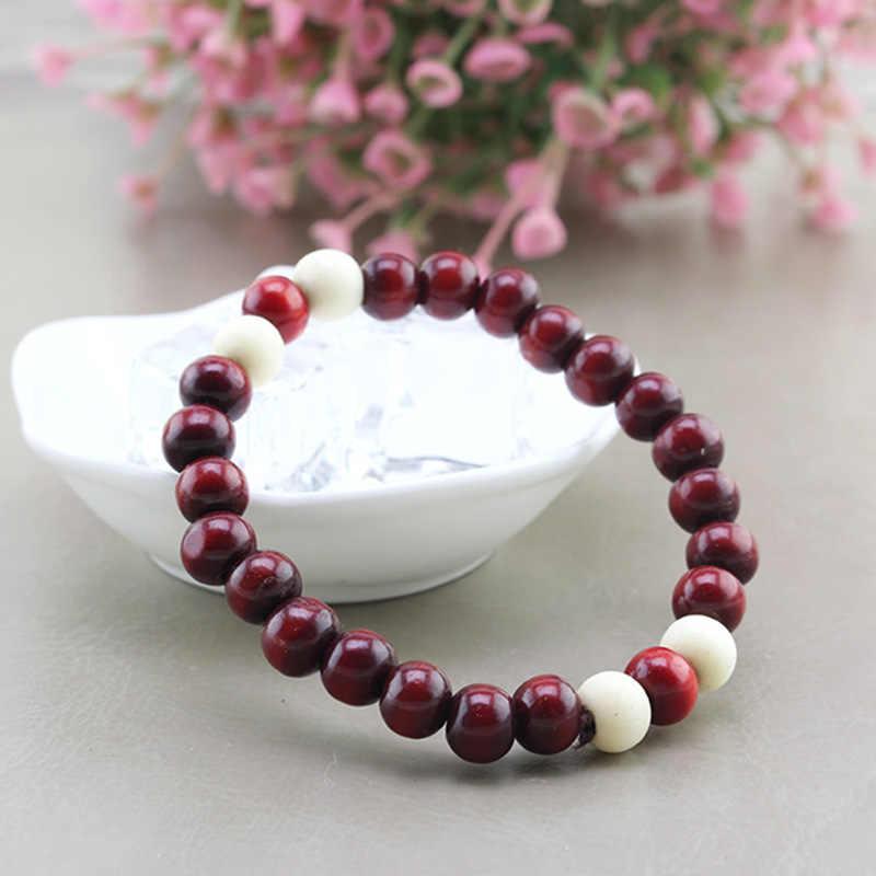 Estilo étnico de madeira grânulo elástico pulseira colo pequenos grânulos para mulheres e homens jóias cores corrente pulseira