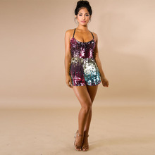 Sexy Deep V Neck backless Sequin Rompers Womens Summer Sexy Short Jumpsuit Glitter Club Party package